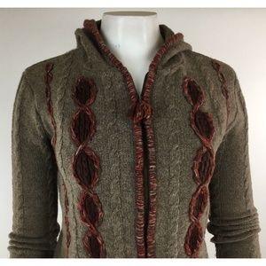 Free People zip front wool hoodie cardigan sweater